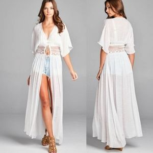 2 left! New Boho Crochet Lace Kimono Swim Cover Up